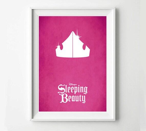 disney sleeping beauty movie poster minimalist print