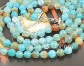"""52"""" 10mm Charm Blue Dragon Agate Round Knotted lariat  Necklace Charm agate  Jewelry"""