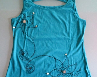 Blue tank top with flowers and hearts with hand drawn fabric colors