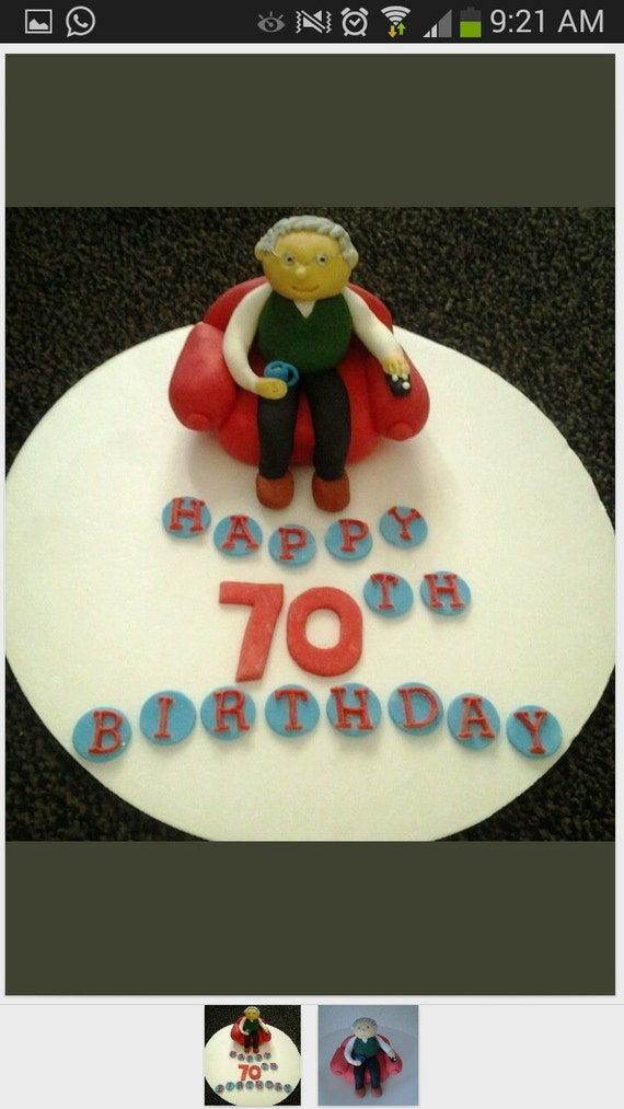 ... old man with tv remote and cup of tea birthday retirement cake topper