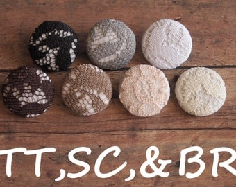 Neutral color lace and  fabric covered buttons (Tie Tacks, Shoe Clips, Brooch)