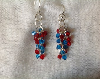 Patriotic Red Blue and Silver Cluster Earrings