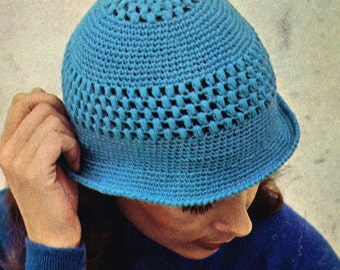 VCP343 ladies summer cloche beanie hat   crochet summer  for ladies vintage pattern PDF instant download
