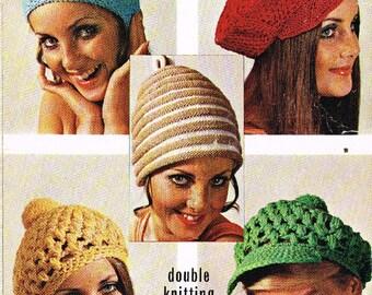 Five designs  crochet  ladies hats  vintage pattern PDF instant download