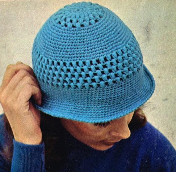 Summer Beanie Hat Crochet Pattern : VCP343 ladies summer cloche beanie hat crochet summer for