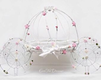 Cinderella carriage handmade cake stand decor centrepeice princess party birthday babyshower christening wedding fairytale