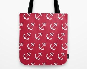 Red Nautical Anchors Tote Bag, nautical tote bag, red beach bag, summer bag