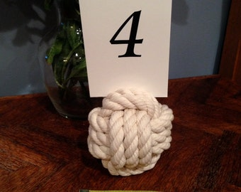 Nautical Table Number Holders - Perfect for Weddings, Parties and Special Events - Set of 15 Monkey Fist Knot Table Number Holders