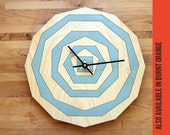 Polygon WALL CLOCK - Blue or Orange - Modern Abstract Housewares Unique Geometric Art