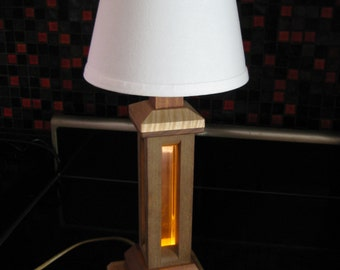 Handmade Wooden Table Lamp, LED and Incandesent light.