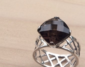 Sterling Silver Lattice ring with Smoky Quartz Faceted Stone