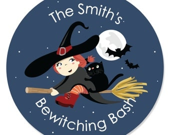24 Bewitching Bash Circle Stickers - Do It Yourself Halloween Party Craft Supplies