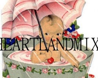 Vintage Digital Image Baby Shower Gift