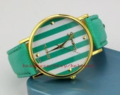 70% OFF, Mint green watch,Stripe watches,Anniversary gifts for men and women.-T031