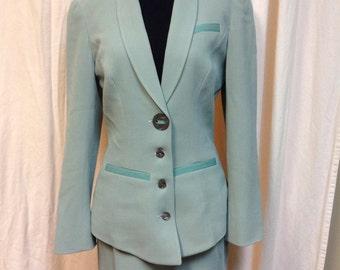 Auth Chantal Thomass Paris Vintage Aqua Skirt Suit w/ Mother of Pearl buttons Size EU 38 US 6 (fits like a 2-4)