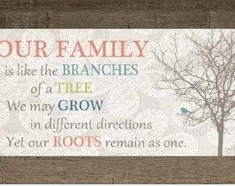 Our Family Is Like The Branches Of A Tree Coral Aqua Decor Print Art Framed Picture 10x16""