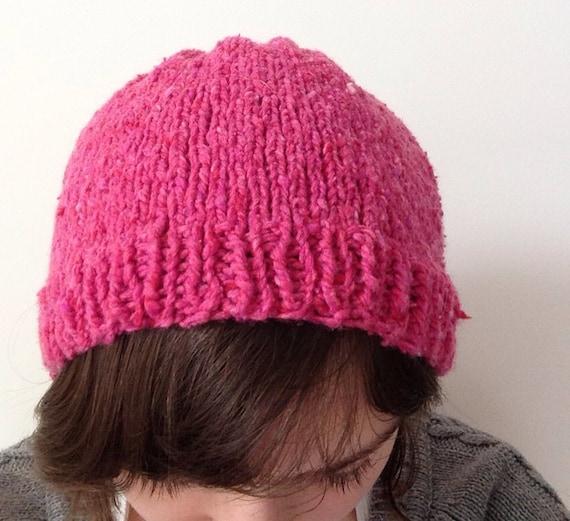 Knitting Pattern Floppy Beanie : Hand Knit Soft Tweed Floppy Beanie