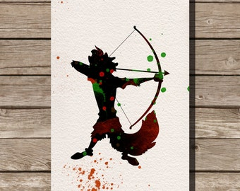 Robin Hood disney watercolor illustrations art children's room wall art art home decor nursery art pixar
