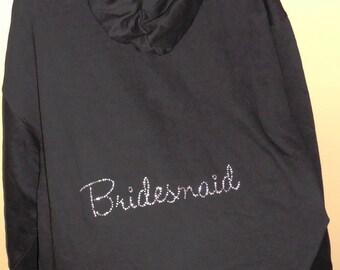CLEARANCE - X-LARGE Rhinestone Bridesmaid Fleece Zip-Up Hoodie