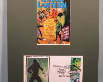 DC Comic Book Super Hero Green Lantern and First Day Cover of the Green Lantern stamp