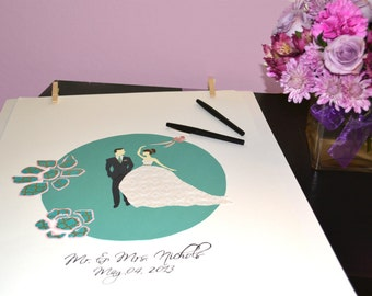 Modern Wedding Guest book, Custom Wedding Guest book, First Anniversary, Gift for Bride, Bridal Shower Poster
