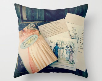 Jane Austen Pillow- INSERT INCLUDED: decor, bedding, pink, books, library, librarian, teacher,