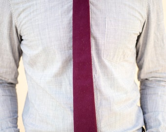 Plum cotton skinny necktie