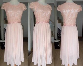 pink dress spring dress autumn dress summer dress women clothing women dress  chiffon lace dress beach dress