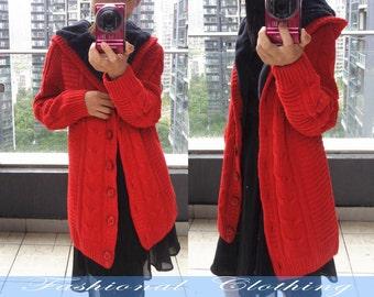 red blue khaki cream sweater coat winter coat Hooded coat jacket outerwear women clothing
