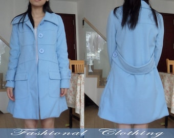 blue coat woolen coat winter coat spring autumn coat warm coat women clothing women coat long sleeve coat jacket outerwear dress