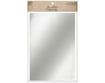 Tim Holtz Idea-ology Mirrored Sheets, Mirrored Sheets Paper, Silver Mirror Sheet, Mixed Media Paper, Altered Art Mirror Paper