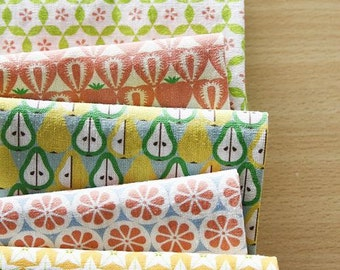 Greens and fruits Cross Section Pattern Panel, 6 Designs fabric Package