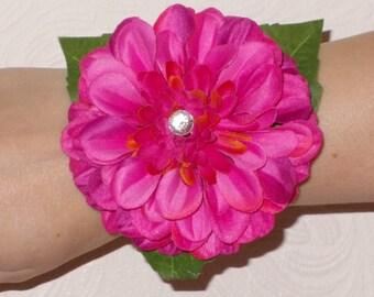 Pink Zinnia Flower Wrist Corsage