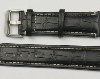 Mens watch strap alligator grain white stitching black padded leather 18mm - 24mm
