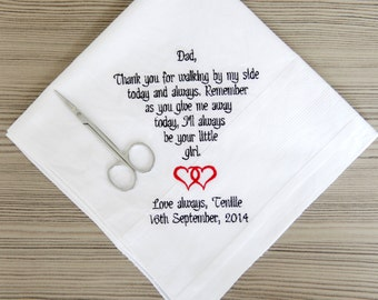 Father of The Bride Handkerchief. Embroidered Custom gift. personalized wedding handkerchief. I'll always be your little girl! Favorite walk
