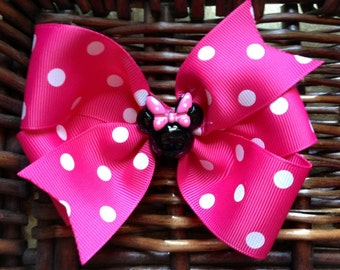 Minnie Mouse Resin Hair Bow red and white or pink and white pinwheel