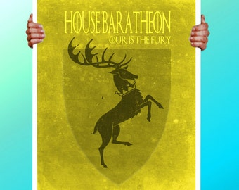 Game of Thrones House Baratheon - Yellow Stag Deer  - Art Print / Poster / Cool Art - Any Size