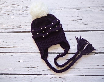 Knit Baby Hat, Baby Girl Hat, Newborn Hat Photo Prop, Baby Knit Hat, Girl Hat, Baby Boy Hat, Earflap Baby Hat, photo prop baby hat