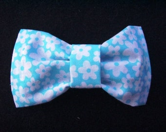 White and Blue Flower Hair Bow