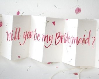 Be my Bridesmaid card, handwritten card, petal paper, bride to be, wedding planning, Bridal Party, custom calligraphy, personalised card