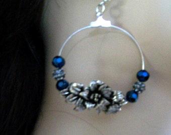 aged metal flower earring