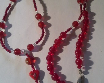 Handcrafted Red Glass w/ Heart   ID Necklace        ''Sale Buy One & Get One Half Price'