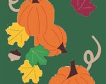 Pumpkin Patch Handcrafted Applique House Flag