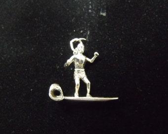 Sterling Silver Surfer on Surf Board 3D Charm/Pendant  - .925  4.1 grams