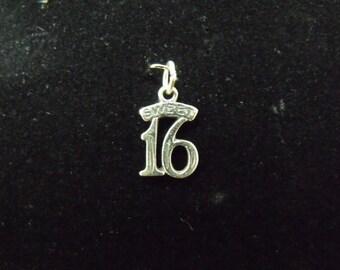 Sterling Silver Sweet 16 Charm/Pendant  - .925  .8 gram
