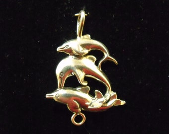 Sterling Silver Three Dolphins Pendant  with bail - .925  4.5 grams