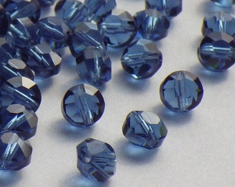 20 Vintage Swarovski Crystal Beads, Article 335 Also Known As Article 5100, 5mm Montana Blue