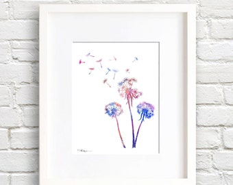 Dandelions Art Print - Abstract Watercolor Painting - Wall Decor