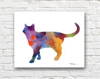 Cat Art Print - Abstract Watercolor Painting - Wall Decor