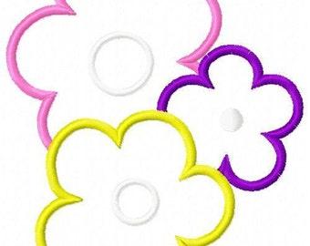 Three Flower Applique Embroidery Design